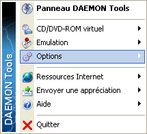 Menu de Daemon Tools Lite.
